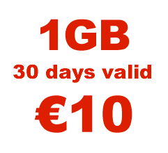 <strong>1GB</strong> mobile internet for <strong>€10</strong>