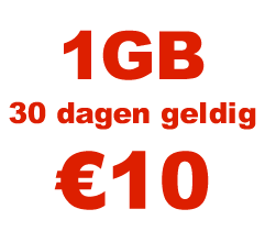 <strong>1GB</strong> mobiel internet voor <strong>€10</strong>